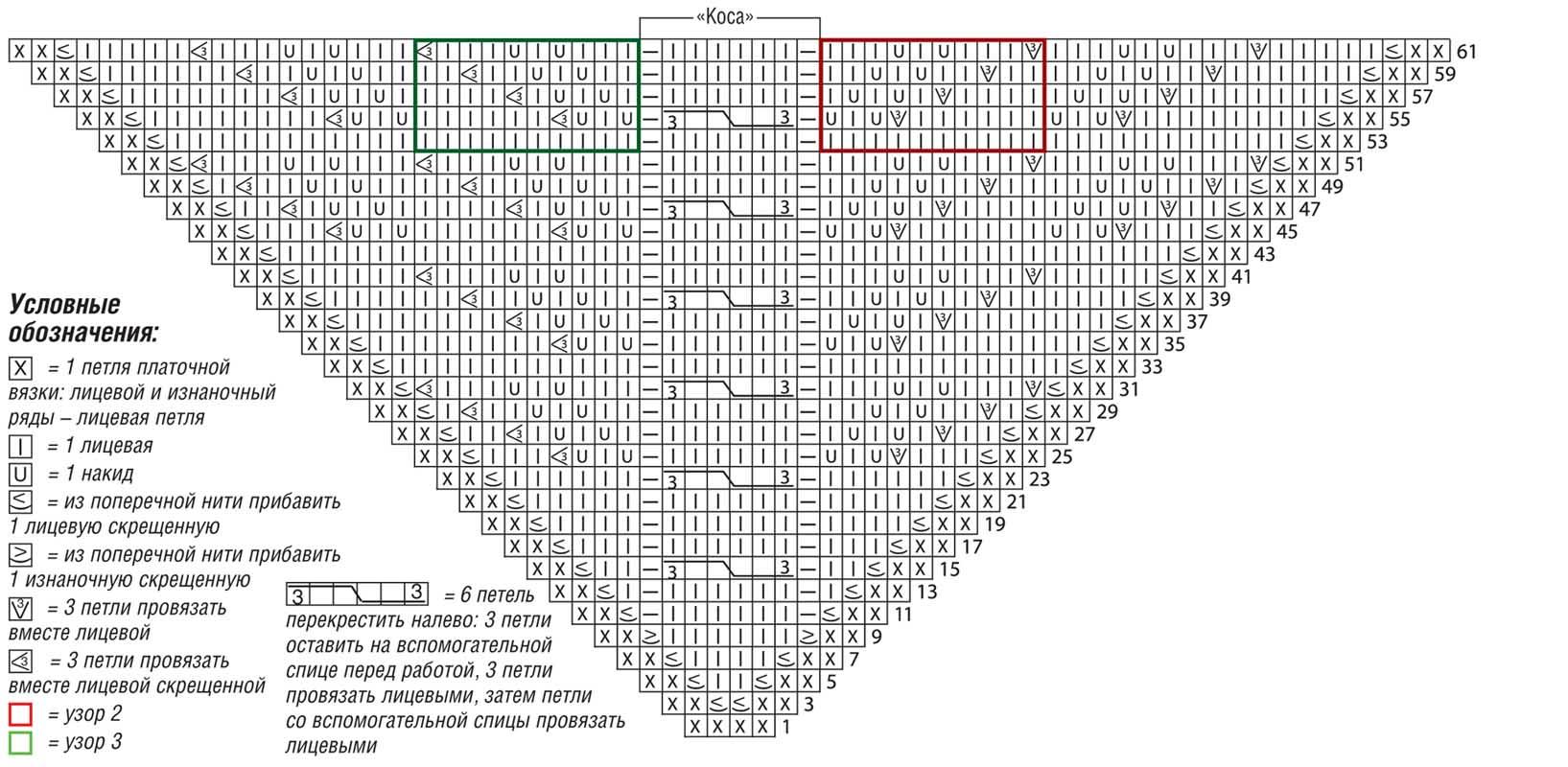 схема узора листья для вязания на круговых спицах