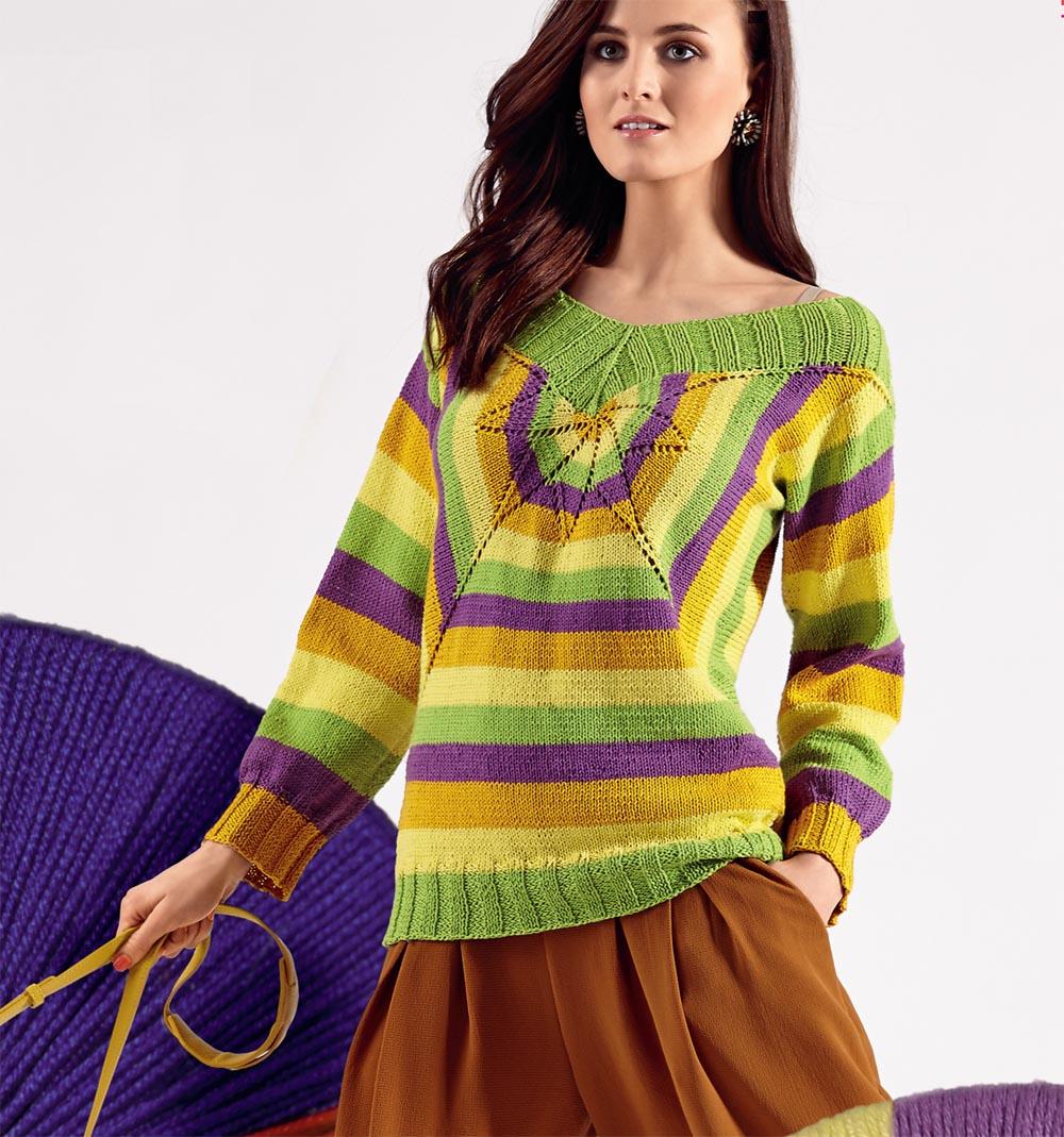 Полосатый пуловер с ажурной «звездой»